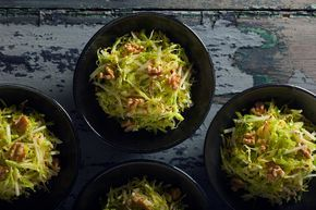 NYT Cooking: Savoy Cabbage Slaw With Applesauce Vinaigrette and Mustard Seeds-FINALLY, a slaw recipe that does not use mayo! This is a must Ty recipe for those of us who do not eat mayonnaise. Try this recipe using our Premium A White Balsmic and the UP Extra Virgin Oil of your choice.