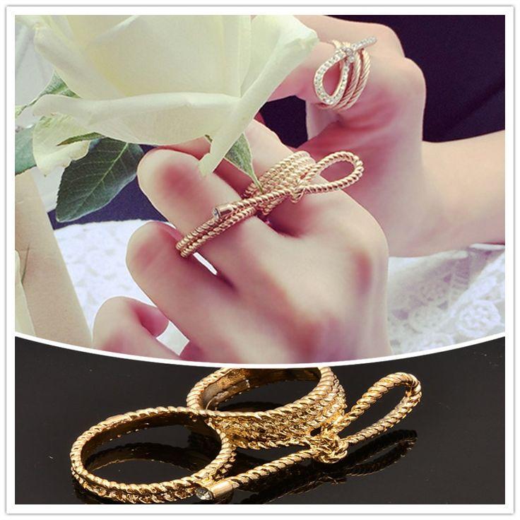 Monili di modo placcato oro strass nodo dell'arco doppio anello di barretta bel regalo per le donne signore r1553