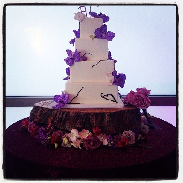 Great Square Wedding Cake | Fresh Orchids | Purple And White | Hands On Sweets  Tampa,