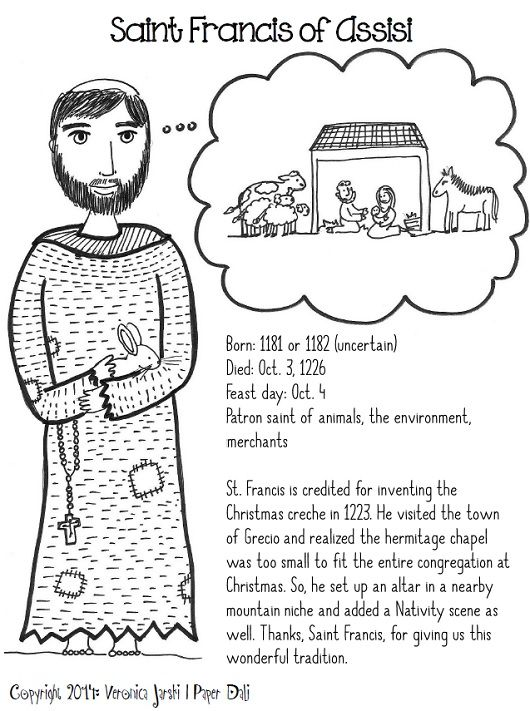 St. Francis and the nativity printable coloring page