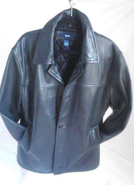GAP Men's Black Leather Quilted Lining Jacket Size Large #GAP #BasicJacket