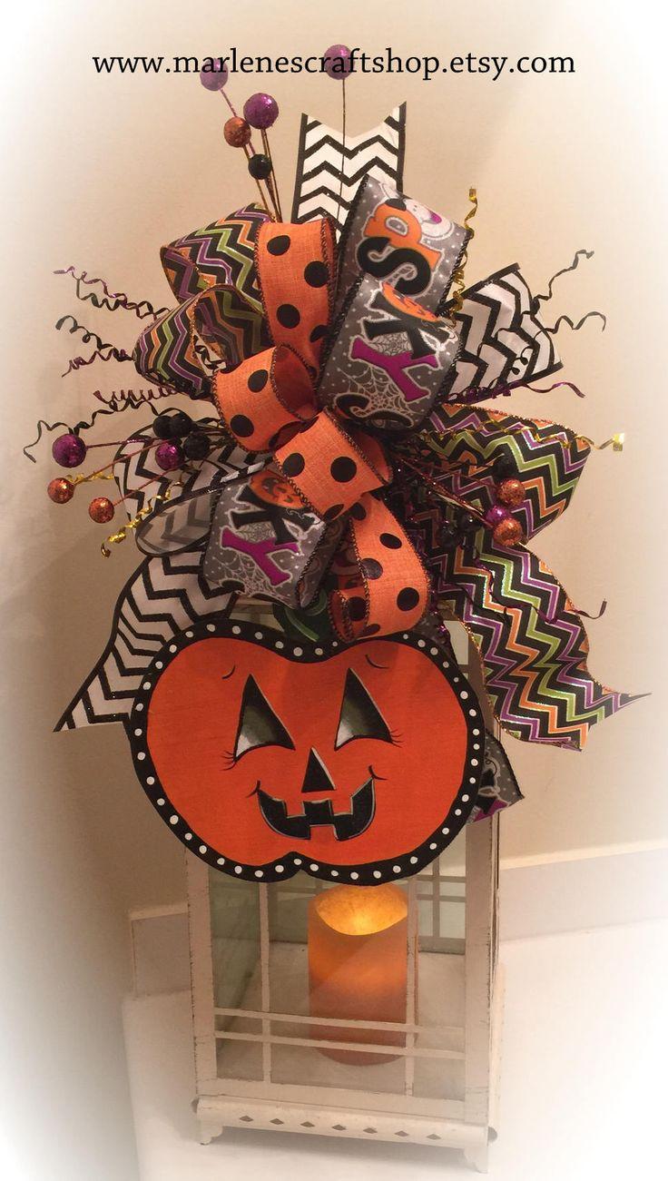 Halloween Lantern Swag/Fall Lantern swag/ pumpkin Lantern swag/wreath accent bow/Halloween accent bow/Jack-o-Lantern/Halloween bow/fall bow by MarlenesCraftShop on Etsy