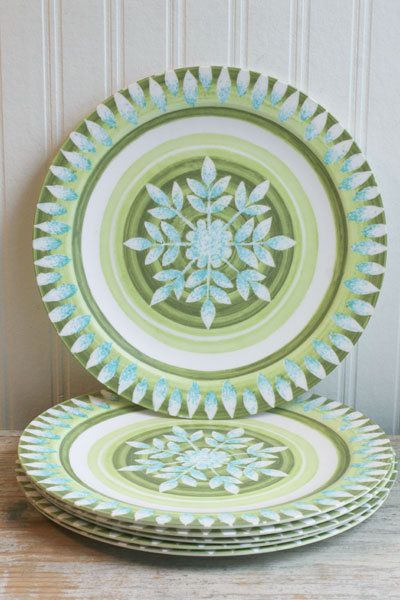 melamine plates set of 6 vintage melmac green blue by mollyfinds - Melamine Dishes