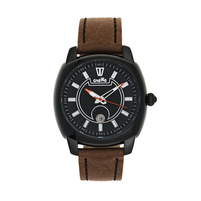 Oxette stainless steel Watch & brown leather band - Available online here: http://www.oxette.gr/rologia/watch-unisex-brown-black-s.steel-ipb-174l-1/   #watch