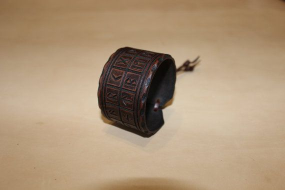 leather bracelet with runic alphabet Futhark.Made от TheLostCraft