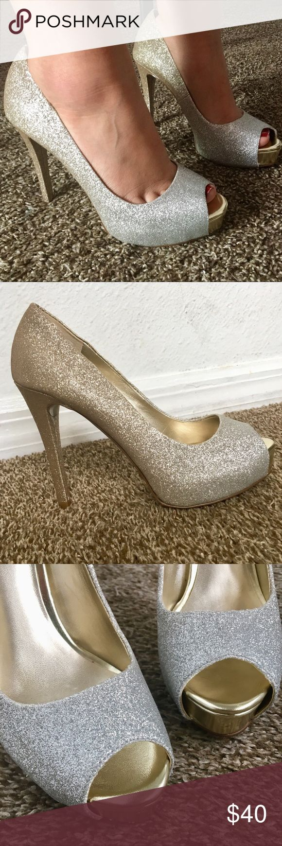 A.N.A Beautiful Gold Fade to Silver Glitter Heels These shoes are absolutely beautiful - A.N.A Gold To Silver Glitter Heels with Peep Toe - Heels Only Worn Once for less then 3 hours & Are In New To Excellent Used Condition! Size 5.5 M a.n.a Shoes Heels #GlitterHeels