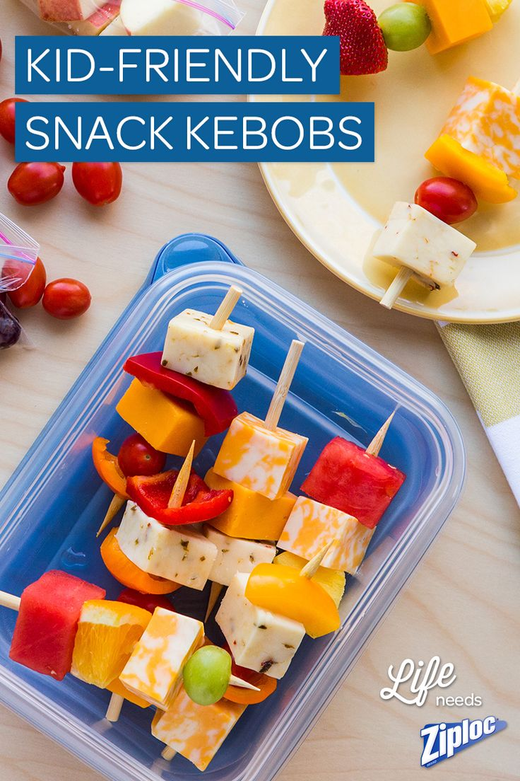 Colorful and fun! We love these healthy game-time snack kebobs. Just thread cubes of cheese, fresh fruit, and raw veggies on wooden skewers. This article is full of team snack ideas for kids!