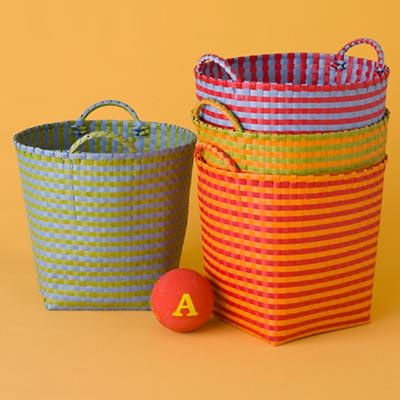 Kids Storage Containers Colorful Striped Woven Waste Bin In Floor