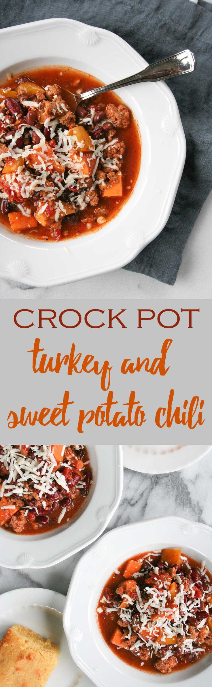 The easiest and tastiest CROCK POT turkey and sweet potato chili. This is perfect for fall and football season! | hungrybynature.com