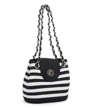 Another great find on #zulily! White & Black Stripe Shoulder Bag by Magid #zulilyfinds