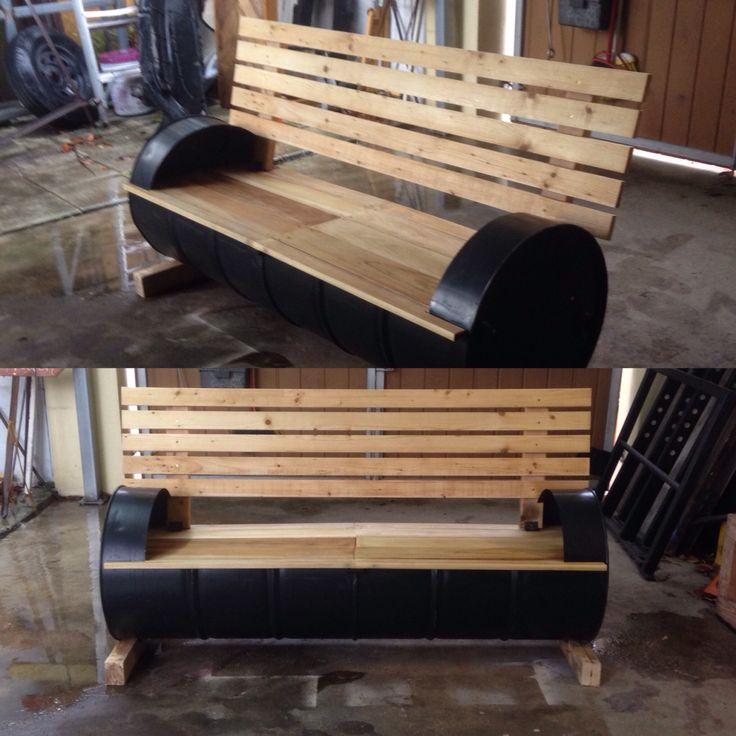 Oil drum bench