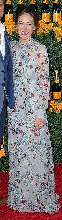 Who made Lindsay Price's blue floral maxi dress?