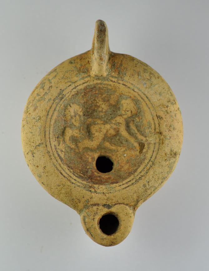 Roman erotic oil lamp, 1st-2nd century A.D. With intercourse, 9 cm long. Private collection