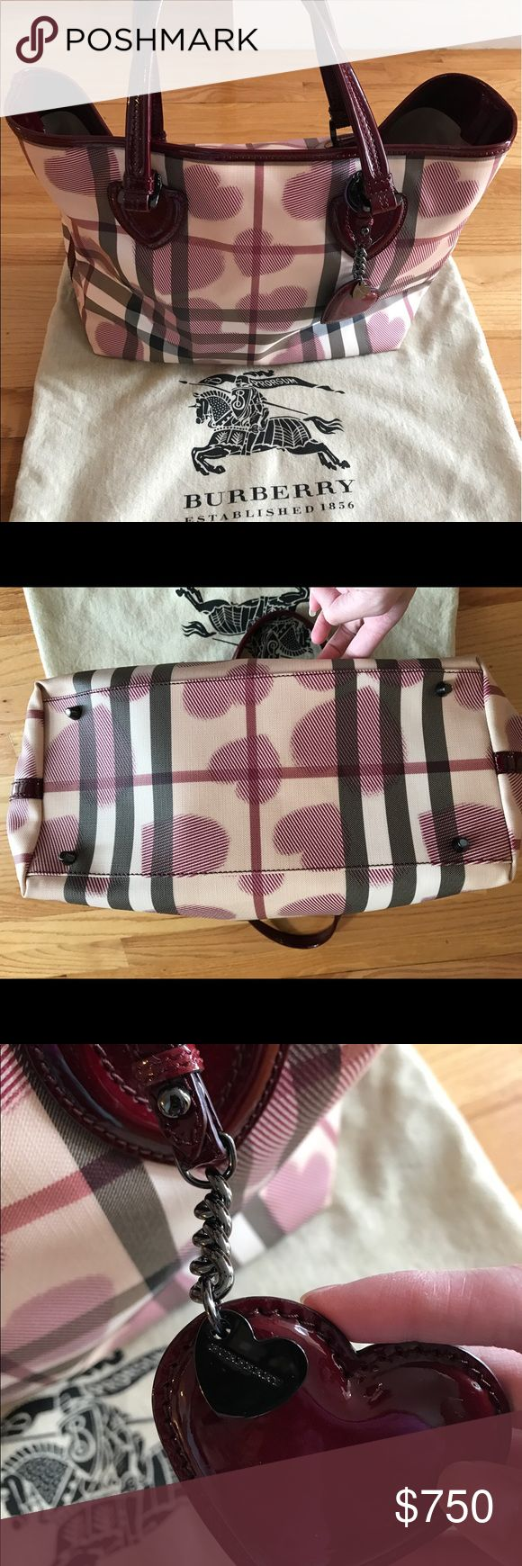 Authentic Burberry Heart Nova Check shoulder tote Authentic Burberry limited edition heart pattern nova check PVC patent leather tote bag. I only used this bag once and is too big on me. Excellent condition. There's a slight dent/marking on the right hand side (last pic) but is not noticeable because of the glossy material. Comes with Burberry heart shaped charm with logo attached to the bag. Include dust bag. Will also be including the burberry card with it. No trades please. Will only take…