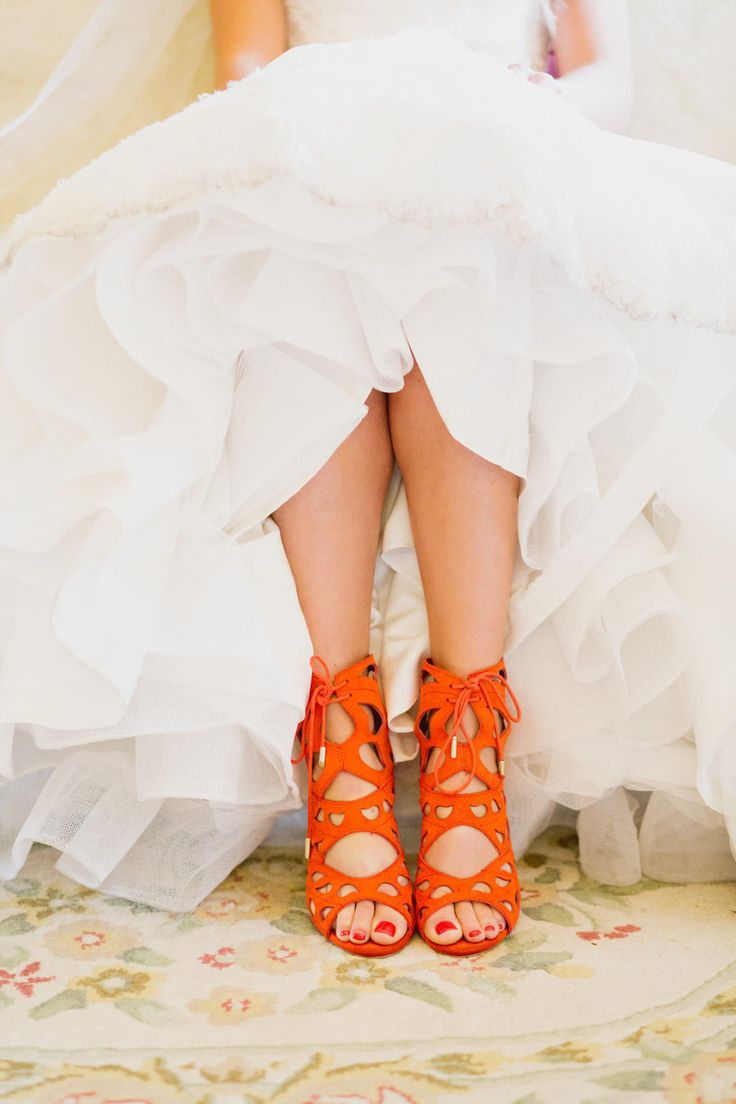 Bright orange lace-up sandals: Photography : Whitney Krutzfeldt Read More on SMP: http://www.stylemepretty.com/canada-weddings/british-columbia/vancouver/2016/03/07/romantic-vintage-inspired-vancouver-summer-wedding/