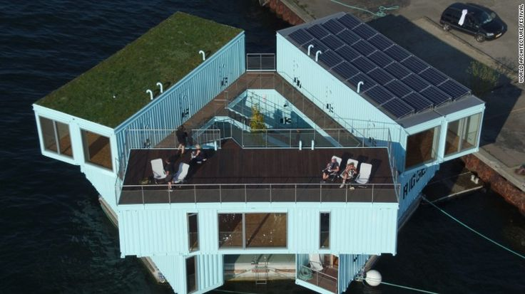 Conceived as a solution to rising housing prices in major cities, BIG's Urban Rigger is built with re-purposed shipping containers. It is the first floating, carbon neutral housing made from shipping containers.