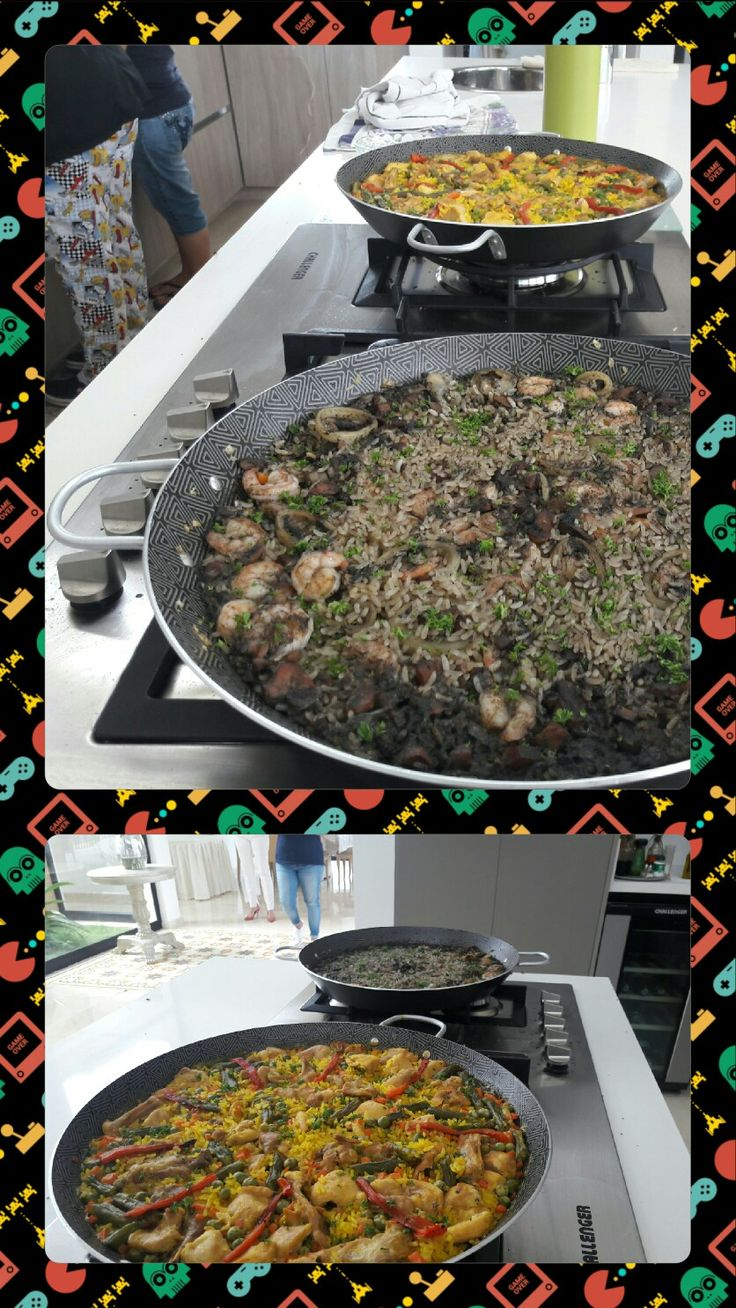 Paella de calamares y camarones en su tinta y de pollo y conejo con verduras