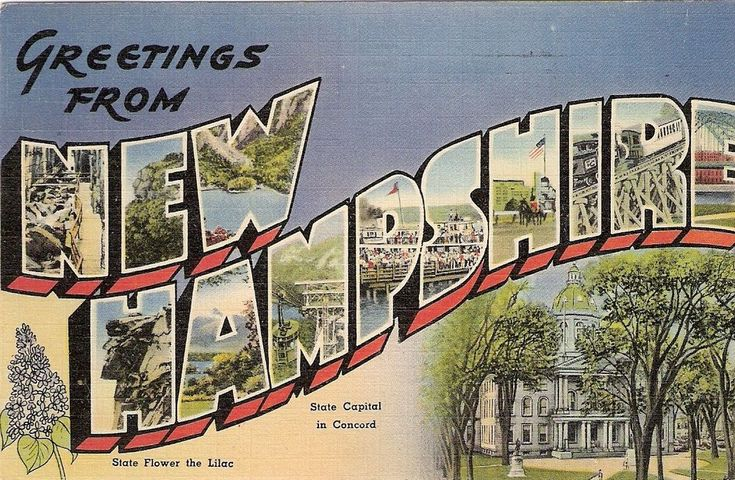 Greetings From New Hampshire Postcard Post Card 1945 Granite State PC