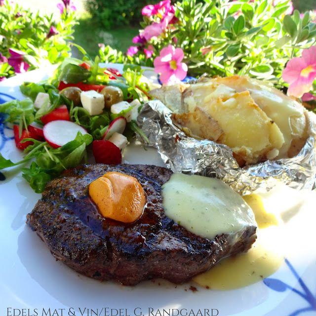 Edels Mat & Vin: Grillet peppermarinert biff med bakt potet & bearn...