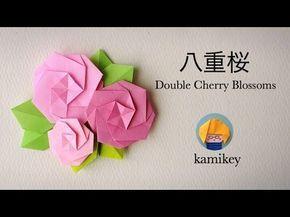 折り紙*八重桜 Origami Double Cherry Blossoms 櫻花雪(カミキィ kamikey) - YouTube