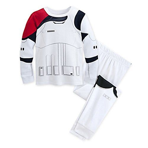 Disney store Star Wars Stormtrooper costume boy 2PC long sleeve cotton tight fit pajama set Stormtrooper screen art with red pauldron to indicate Officer rank Coordinating elastic-waist pajama pants