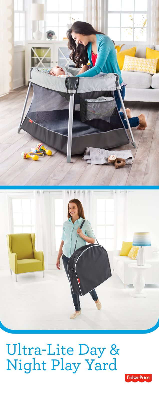 The Fisher-Price Ultra-Lite Day & Night Play Yard is half the weight of other play yards for easy on-the-go portability. An inclined sleeper and large play space means baby can nap and play all day.