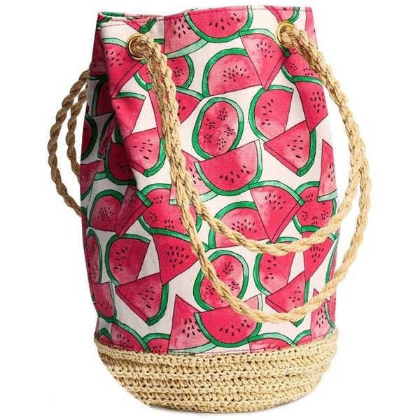 LUCLUC Watermelon-pattern Crochet Shoulder Bag (32 AUD) ❤ liked on Polyvore featuring bags, handbags, shoulder bags, crochet shoulder bag, pink handbags, macrame purse, macrame handbags e crochet purse