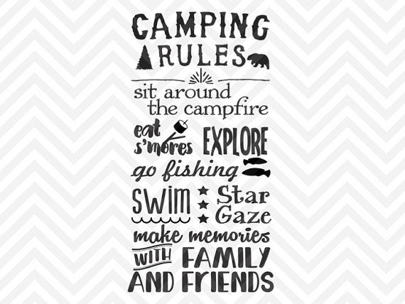 Camping Rules SVG and DXF Cut File • PDF • Vector • Download File • Cricut • Silhouette | The Hungry JPEG