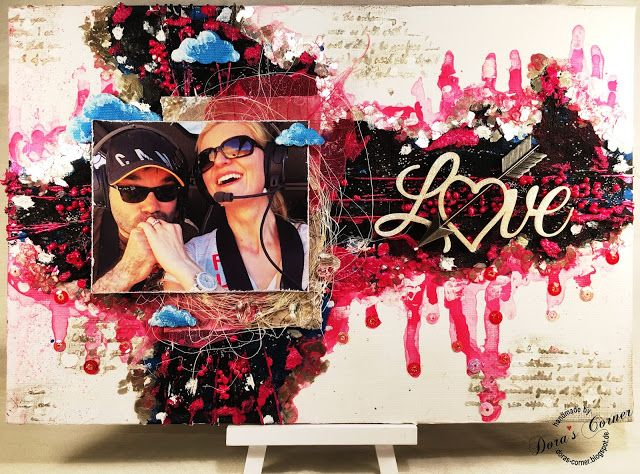 love is in the air handmade layout mixed media