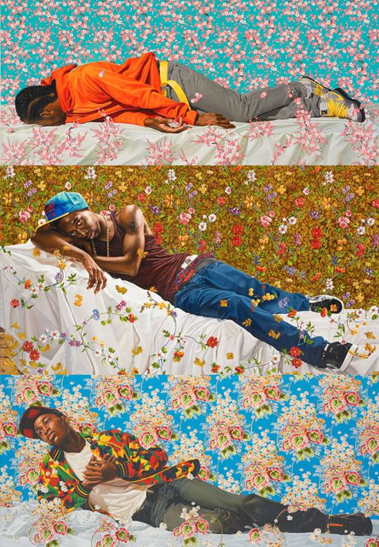thatsocialjusticebitch:  akitron:  limpwristsraisedfists:  kehinde wiley.  OH MAN I LEARNED ABOUT HIM AND ART HISTORY AND HE'S LIKE MY NEW FAVE he takes dudes like these guys and lets them pick out/chooses an older picture to emulate and it's a really interesting dichotomy between the hypermasculine way we're supposed to think of black men and the way masculinity was thought of back in the day! SO COOL RIGHT  ooh, my art class talked about him a week ago.