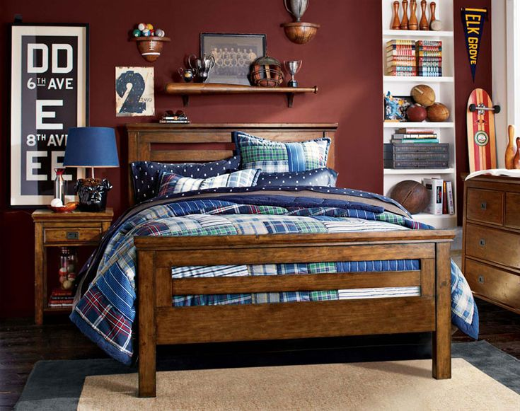 boy bedroom furniture. the pbteen design team shares teenage guy bedroom ideas that start with bold patterned bedding and clean simple furniture lines boy