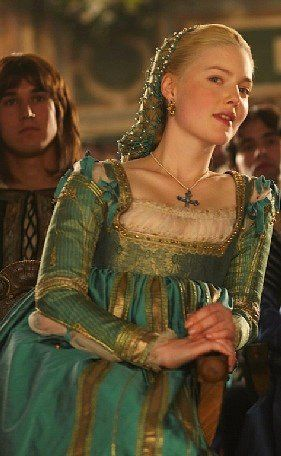 Teal gown worn by Holliday Grainger (as Lucezia Borgia).  The Borgias, television, TV, costume design, textiles,