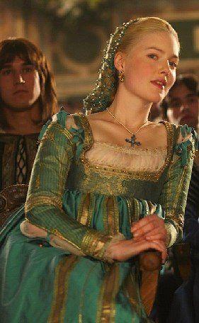 Teal gown worn by Holliday Grainger (as Lucezia Borgia).  The Borgias, television, TV, costume design, textiles,