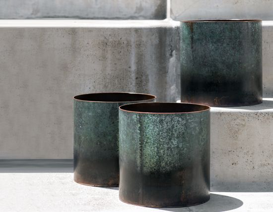 Copper Vase - Verdigris Finish These incredible vases are locally made from 'upcycled' copper pipes. The minimalist cylindrical shape enhance the beauty of the different finishes. A stunning piece of art for every indoor and outdoor space.