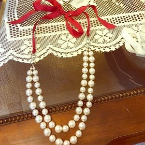 Premier Designs Pearl Necklace with Ribbon back ...