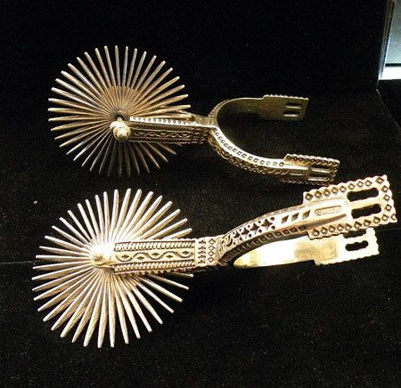 Antique hand made pair of Chilean silver Gaucho spurs.