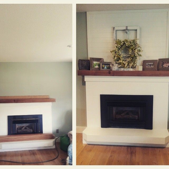 Another weekend project  before and after done by @mikediewold. Love it! #diy #diyhomedecor #handyhusband #fireplace #shiplap