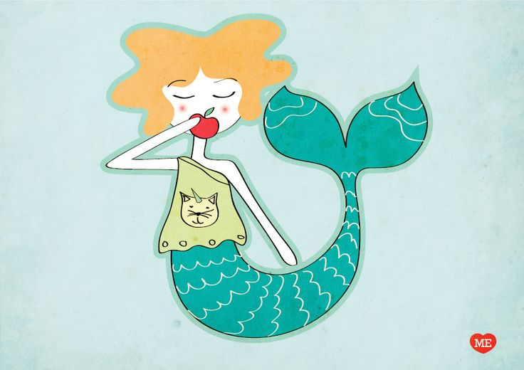 www.piratiesirene.it #mermaid #apple #girl #veg #vegan