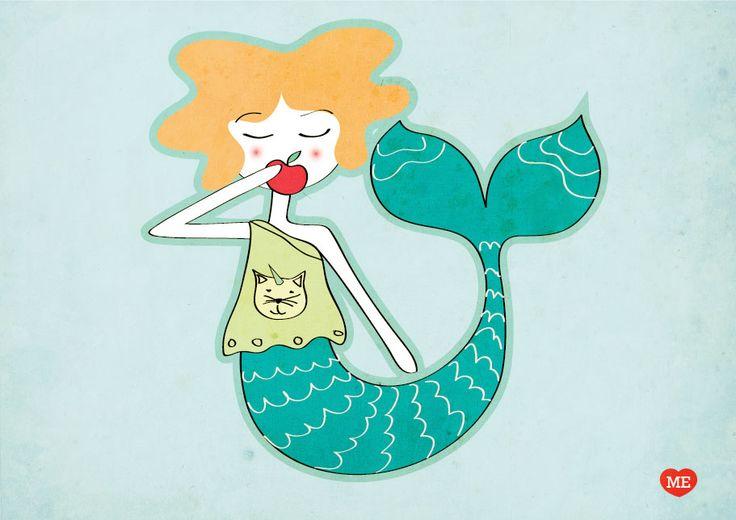 www.piratiesirene.it #mermaid #apple #girl #veg #vegan