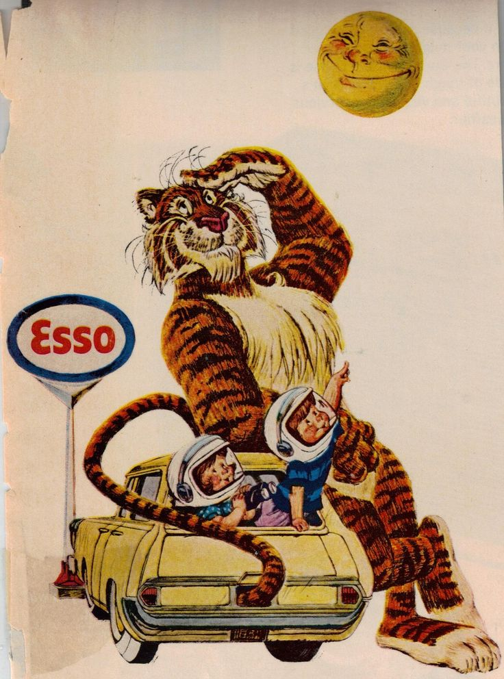 Old Gas Station Signs 1960s Esso Tiger Display Sign Made Into 2 Photo Magnets   eBay
