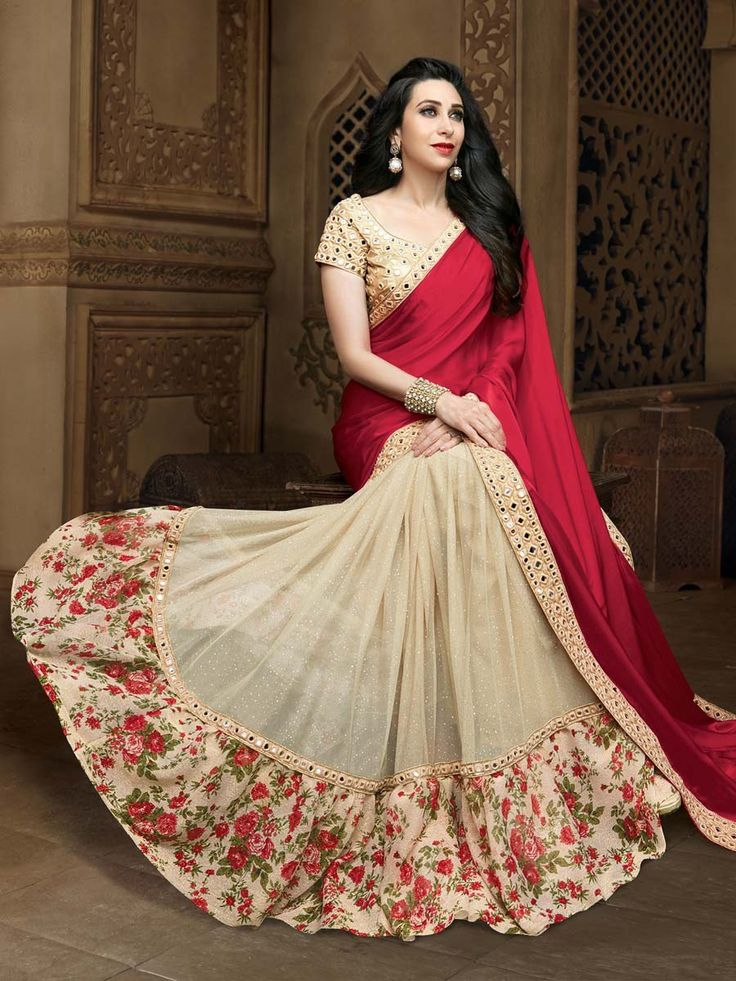Glowing satin and net saree in maroon and beige color decorated with mirror, resham work. Item code: SDH10119 http://www.bharatplaza.com/new-arrivals/sarees.html