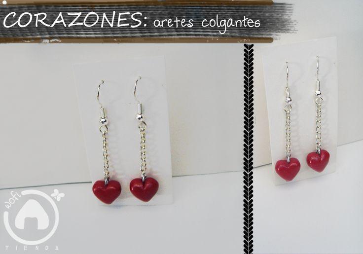 Corazones aretes colgantes