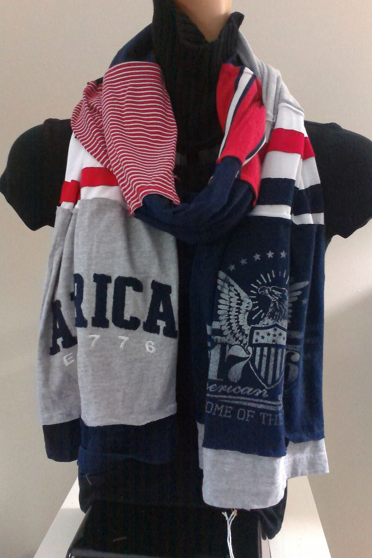 $15.00 - ITEM #USA04:  American Red White and Blue scarf. Measures approx. 84 in long.