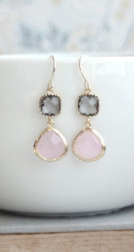 Pink and Grey Earrings. Pink Opal Ice Pink, Gold Framed Gray Glass Dangle Earrings. Wedding, Bridal Bridesmaids Gift. Pink and Grey Wedding.  https://www.etsy.com/listing/180643901/pink-and-grey-earrings-pink-opal-ice?ref=shop_home_active_2&ga_search_query=pink%2Band%2Bgrey