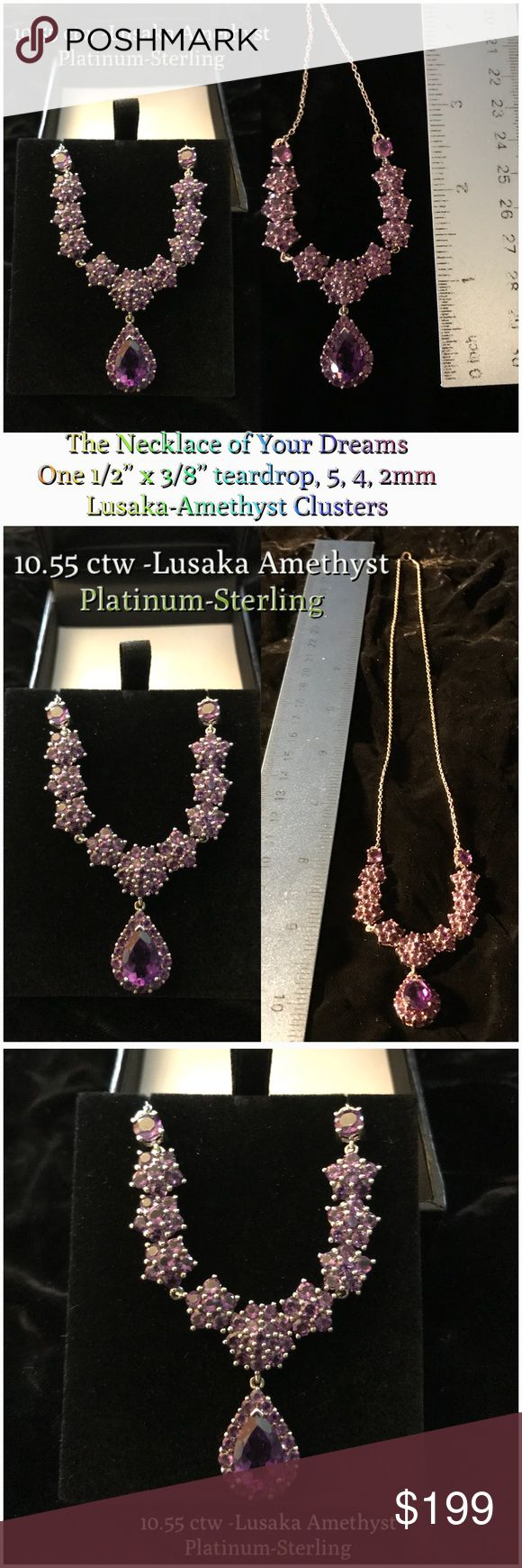 """Platinum-Sterling Lusaka Amethyst Necklace 10.55 carats of regal Lusaka Amethyst fit for a Queen! Set in a platinum-finished sterling-silver necklace to enchant everyone who sees it. Rare & sought after for its pink/red flashes, this amethyst, according to Leonardo Da Vinci, is believed to prevent harm, and to encourage rational thinking. One 1/2"""" x 3/8"""" teardrop, two 5mm rounds, & sixteen 4mm + sixteen 2mm clusters. Platinum over sterling silver; spring-ring clasp hallmarked for sterling…"""