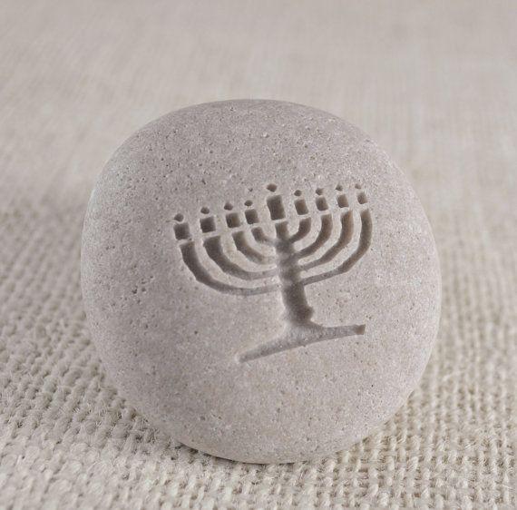 Menorah - engraved stone ready to ship