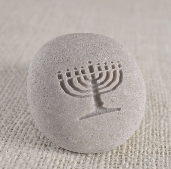 Menorah - engraved stone ready to ship