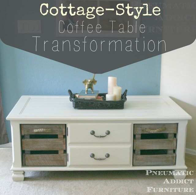 DIY Woodworking Ideas Pneumatic Addict #Furniture: Cottage-Style #CoffeeTable Transformation #diyproje...