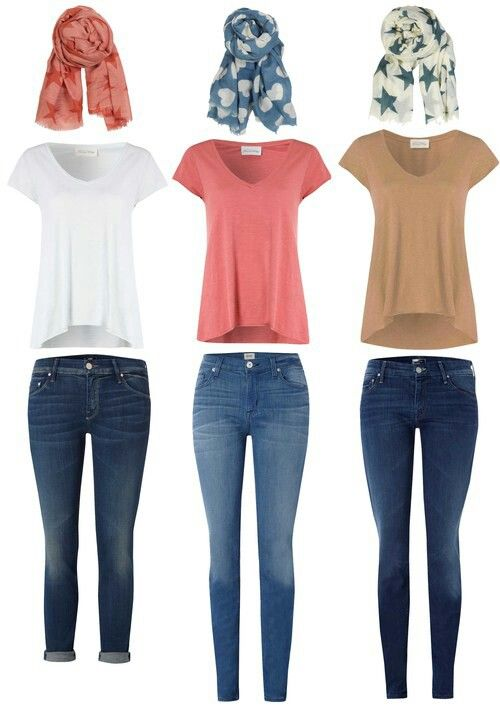 Casual Outfits Jeans T-Shirts Scarves | Pt 2