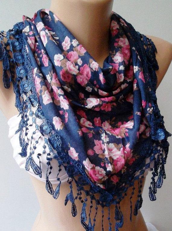 Dark Blue  Pink  flowered  Elegance  Shawl / Scarf with  $19.00: Pink Flowers, Elegant Shawl, Flowers Scarfs, Blue Pink, Flowers Elegant, Summer, Accessories, Pretty, Dark Blue